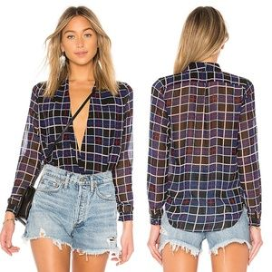 Lovers + Friends Get Down Plaid Long Sleeve Blouse